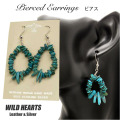 クリックポストのみ送料無料!シルバー925 ターコイズ イヤリング インディアンジュエリー 天然石Native American Style Turquoise Sterling Silver Pierced Earrings WILD HEARTS Leather&Silver(ID pe2895)