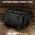 ウエストバッグ ヒップバッグ 本革/レザー バイカー ブラック/黒 Men's Genuine Leather Biker Fanny Pack Waist Bag Hip Bag/Pouch Biker Gear WILD HEARTS Leather&Silver(ID wb0972t30)
