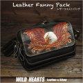 レザーウエストバッグ ヒップバッグ レザー/牛革 カービング イーグル Carved Leather Fanny Pack Waist Bag Hip bag Belt Pouch Eagle motif WILD HEARTS Leather&Silver (ID wb3358r81)