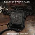 レザーウエストバッグ レッグベルト付き ヒップバッグ 牛革 ブラック Genuine Leather Waist Bag Cowhide Leather Fanny Pack Black WILD HEARTS Leather&Silver(ID wb1699t3)