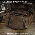 レザー ウエストバッグ ファニーパック ヒップバッグ 本革 メンズ ビンテージ加工 Genuine Leather Waist Bag Cowhide Leather Fanny Pack WILD HEARTS Leather&Silver(ID wb137b25)