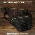 ワニ革 本革 斜めがけ ボディバッグ クロコダイル メンズ ブラック ブラウン Crocodile Skin Leather Fanny Pack Shoulder Sling Bag Black Brown WILD HEARTS Leather&Silver(ID wb4132t40)