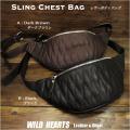 送料無料 ボディバッグ 斜めがけ/肩がけバッグ ヒップバッグ 本革/レザー ダークブラウン ブラック Genuine Leather Body Bag Cowhide Leather Fanny Pack Darkbrown Black WILD HEARTS Leather&Silver(ID bb323b31)
