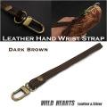 クリックポストのみ送料無料!ハンドストラップ スマホケース ストラップ 牛革/レザー /携帯/iPhone スマートフォン ダークブラウン/焦茶 Genuine Leather Hand Wrist Strap Dark Brown WILD HEARTS Leather&Silver(ID hs4r19)