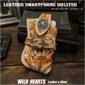 カービング レザー スマホ/iPhone SE2,7,8,X,Xs,11pro ケース ホルダー ヌメ革/サドルレザー ナチュラル Genuine Cowhide Leather iPhone/Smartphone Carrying Belt Case Holster Carved Leather (ID cc1328b30)