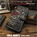 iPhone 6 Plus/6s Plus/7 Plus/8 Plus/XS Max/11ProMax/XR/11  手帳型レザーケース アイフォン スカル カービング Genuine Leather  Flip Case Wallet Cover For iPhone Skull&Gothic Carved  WILD HEARTS Leather&Silver (ID ip3049r50)