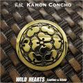 クリックポストのみ送料無料!家紋コンチョ 真鍮 戦国武将 長宗我部元親 長宗我部氏 家紋 七つ酢漿草 七つ片喰紋 Samurai Family Japanese Crest Brass Concho WILD HEARTS Leather&Silver (ID cc3525)