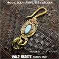 真鍮 キーホルダー キーフック ターコイズ&レッドコーラル ネイティブ インディアンスタイル ナバホ族スタイル Key holder Brass key chain with Turquoise & Coral Native American Style (ID kh2354k11)