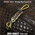 クリックポストのみ送料無料!真鍮 キーホルダー キーフック フェザー ネイティブ インディアンスタイル ナバホ族スタイル Key holder Brass key chain with Native American Style WILD HEARTS Leather&Silver(ID kh3284k11)