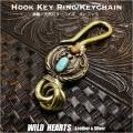 クリックポストのみ送料無料!真鍮 キーホルダー キーフック ターコイズ&レッドコーラル ネイティブ インディアンスタイル ナバホ族スタイル Key holder Brass key chain with Turquoise & Coral Native American Style (ID kh3285k11)