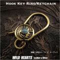 クリックポストのみ送料無料!キーホルダー キーフック 真鍮 ターコイズ ネイティブ インディアンスタイル ナバホ族スタイル Hook Key Ring Keychain Brass Turquoise  Native American Style WILD HEARTS Leather&Silver(ID kh3465k5)