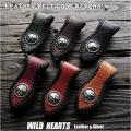 クリックポストのみ送料無料!レザーキーホルダー ベルトループ 本革 馬革 コンチョ付き 6色 Dカン付き Genuine Horsehide Leather Belt Loop Keychain Key ring Key Holder Handmade 6 colors WILD HEARTS Leather&Silver (ID bk3591r45)
