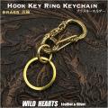 キーホルダー キーフック  キーリング ブラス 真鍮  Hook Key Ring Keychain Brass WILD HEARTS Leather&Silver(ID kh4027k5)