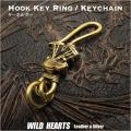 キーホルダー キーフック 真鍮 ハーレー パンヘッド エンジン Hook Key Ring Keychain Brass Harley-Engine Panhead WILD HEARTS Leather&Silver(ID kh3829k5)