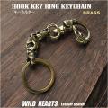 スカル/ドクロ キーフック キーホルダー ブラス 真鍮 髑髏モチーフ Skull Brass Key Chain Key holder WILD HEARTS Leather&Silver (ID kh4026k5)