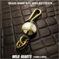 ピースマーク キーホルダー キーチェーン キーフック 真鍮 シェル Key Chain Holder Key Ring Peace Symbol Sign Love&Peace Brass shell WILD HEARTS Leather&Silver(ID kh340k5)