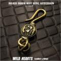 キーホルダー ウォレットチェーンホルダー 真鍮 キーフック ココペリ インディアンジュエリー Native American Brass key chain Kokopelli Key Holder WILD HEARTS Leather & Silver (ID kh1726k11)