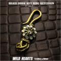 キーホルダー ウォレットチェーンホルダー 真鍮 キーフック サンフェイス インディアンジュエリー Native American Brass key chain Sunface Key Holder WILD HEARTS Leather & Silver (ID kh344k5)