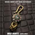 キーホルダー ウォレットチェーンホルダー 真鍮 キーフック サンフェイス インディアンジュエリー Native American Brass key chain Sunface Key Holder WILD HEARTS Leather & Silver (ID kh343k5)