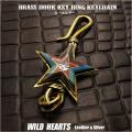 キーホルダー ウォレットチェーンホルダー 真鍮 キーフック スター サンフェイス インディアンジュエリー Native American Brass key chain Star Sunface Key Holder WILD HEARTS Leather & Silver (ID kh4020k5)