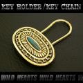 クリックポストのみ送料無料!キーホルダー ウォレットチェーンホルダー 真鍮 キーフック インディアンジュエリー ターコイズ (ID kh1499k11)
