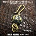 クリックポストで送料無料! 真鍮製キーホルダー ウォレットチェーンホルダー ココペリ インディアンジュエリー ターコイズ Kokopelli Brass Key Chain Key Holder Turquoise WILD HEARTS Leather &Silver (ID kh1725k11)