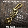 クリックポストで送料無料! 真鍮キーホルダー スカルキーホルダー ドクロ SkullBrass Key Chain WILD HEARTS Leather&Silver (ID kh1727k11)