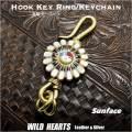 クリックポストで送料無料!ブラスキーホルダー 真鍮 サンフェイス インディアンジュエリー Brass Key Chain/Brass Key Holder WILD HEARTS Leather&Silver (ID kh1730k11)