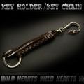 クリックポストのみ送料無料!レザーキーホルダー レザー ダークブラウン Leather Key Chain/Leather Key Holder (ID kh1732r21)