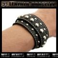 クリックポストのみ送料無料!レザーブレスレット レザーリストバンド 牛革 黒 Leather Bracelet Leather Wrist Band (ID lb1517r32)