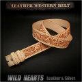 ウエスタンベルト  カービングベルト 牛革 サドルレザー  タン/ナチュラル Hand Carved Leather Belt Tan (ID lb1810t42)