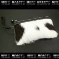 レザーポーチ/ポーチ/牛革/ハラコ/レザー/LEATHER POUCH/Cowhide Leather Pouch with Fur