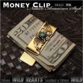 マネークリップ 真鍮製 ネイティブアメリカン ターコイズ フェザー Money Clip Brass Turquoise Native American Design WILD HEARTS Leather&Silver (ID mc3819r3)