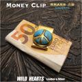 マネークリップ 真鍮製 ピースマーク ターコイズ Money Clip Brass Peace Symbol Sign Love&Peace WILD HEARTS Leather&Silver (ID mc3355r3)