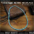 ターコイズネックレス 天然石ターコイズ アリゾナ産 ネイティヴアメリカン 50cm  Sleeping Beauty Turquoise Heishi Necklace Native American 19 5/8inch  WILD HEARTS Leather&Silver (ID nc3813r3)