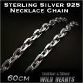 ネックレスチェーン シルバー925 シルバーチェーン 特大アズキ 60cm(9mm) Men Sterling Silver 925 Necklace Chain Jewelry 23 5/8inch  (ID nc2998r3)