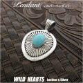 クリックポストのみ送料無料!ネイティブアメリカンスタイル ターコイズ&シルバー925 ペンダントトップTurquoise Sterling Silver Pendant Native American/Navajo Style JewelryWILD HEARTS Leather&Silver (ID 11k14)