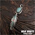 ペンダントトップ ネックレストップ ナバホ/ネイティブアメリカン スタイル シルバー925 フェザー ターコイズ/レッドコーラル/オニキス インレイ Silver925 Sterling silver Turquoise Pendant Native American Style WILD HEARTS Leather&Silver (ID pt2099)