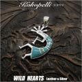 クリックポストのみ送料無料!ココペリ ペンダントトップ ネックレストップ シルバー925  ターコイズ Kokopelli Sterling Silver Pendant Turquoise WILD HEARTS Leather&Silver (ID 0471k3)