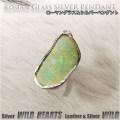 クリックポストのみ送料無料!ローマングラス ペンダントトップ ネックレストップ シルバー ジュエリー ローマン硝子 Silver Edged Roman Glass Pendant Jewelry Necklace WILD HEARTS Leather&Silver (ID pt3806)