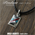 ペンダントトップ インディアンジュエリー インレイ・ワーク シルバー 925/Silver 925 Indian Jewelry WILD HEARTS Leather&Silver (ID pt4100)