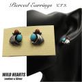 ピアス シルバー925 ターコイズ シルバーアクセサリー インディアンジュエリー Native American Style Sterling Silver Pierced Stud Earrings Turquoise WILD HEARTS Leather & Silver(ID se3830)