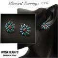 インディアンジュエリー ピアス シルバー925 ニードルポイント ターコイズ/レッドコーラル Native American style Pierced Earrings Sterling Silver/Turquoise/Red Coral/Petit Point Design WILD HEARTS Leather&Silver (ID se2235)