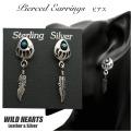 クリックポストのみ送料無料!ピアス ベアパウ&フェザーピアス インディアンジュエリー シルバー925/ターコイズ Turquoise Sterling Pierced Earrings/Bear Paw/Native American WILD HEARTS Leather&Silver(ID se1564)