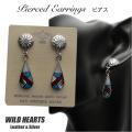 クリックポストのみ送料無料!ピアス インレイ インディアンジュエリー シルバー925 ターコイズ Turquoise Sterling Pierced Earrings/Native American style (ID se3218)