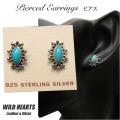 クリックポストのみ送料無料 ピアス インディアンジュエリー シルバー925 ターコイズ Turquoise Sterling Pierced Earrings/Native American style WILD HEARTS Leather&Silver (ID se3221)