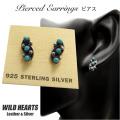 クリックポストのみ送料無料 レディス ターコイズシルバー925ピアス インレイ インディアンジュエリースタイル Turquoise Sterling Pierced Earrings/Native American style WILD HEARTS Leather&Silver (ID se3222)
