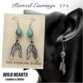 クリックポストのみ送料無料!ピアス ターコイズ フェザー シルバーアクセサリー インディアンジュエリー Native American Style Turquoise  Feather Sterling Silver  Pierced Earrings (ID pe3231)