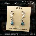クリックポストのみ送料無料!ピアス ターコイズ シルバー925 ネイティヴ系 インディアンスタイル Turquoise Sterling Silver Pierced Earrings Native American style (ID se3233)