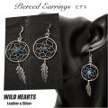 クリックポストのみ送料無料!ドリームキャッチャーフックピアス シルバー925 ターコイズ フェザー Lサイズ Dream Catcher Sterling Silver Pierced Earrings Native American Style L-size WILD HEARTS Leather&Silver (ID pe3473)